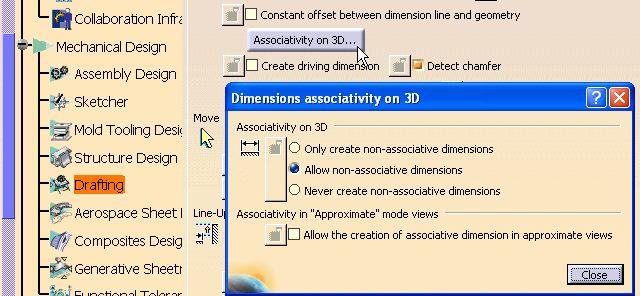 Opciones dimensiones no asociativas