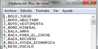 Lista de palabras
