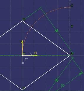 linea perpendicular a la diagonal larga