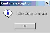 Clic OK to terminate