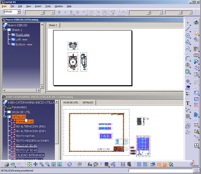 Imagen: Pantalla de catia v5 con dos ventanas
