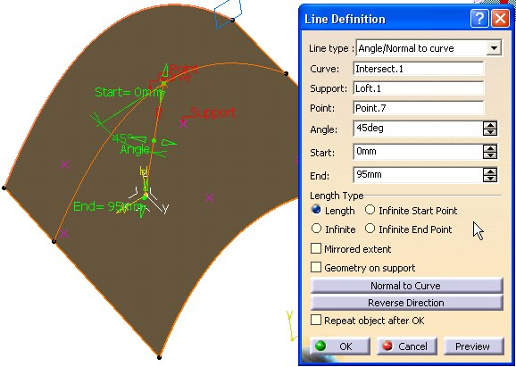 Imagen: Panel Angle/Normal tu curve