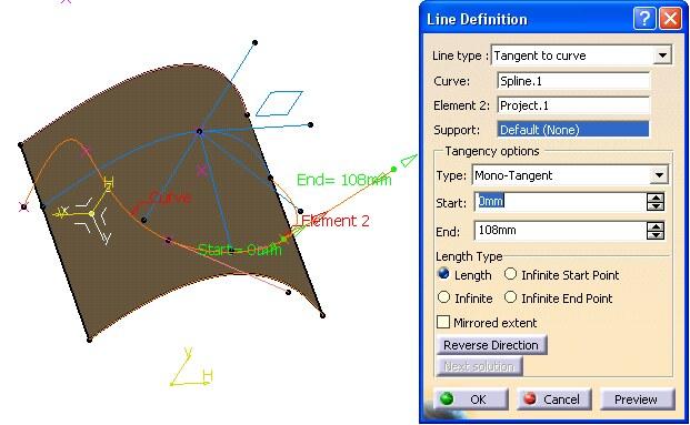 Imagen: Panel Tangent to curve